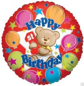 18in Bear 1st Birthday Balloon