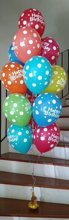 Colourful Polka Dot Happy Birthday Latex Balloons Bouquet