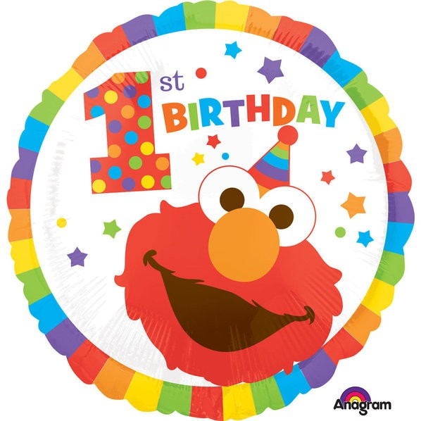 "18"" Elmo 1st Birthday Foil Balloon"