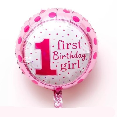 "18"" First Birthday Girl Foil Balloon"