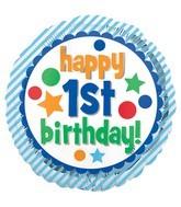 "18"" Happy 1st Birthday Blue Foil Balloon"