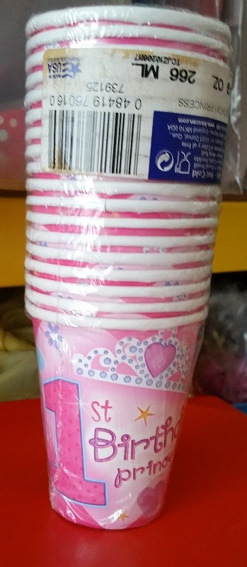 1st Birthday Princess Cups 18pcs