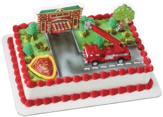 Fire truck and Fire Station Cake Decorating Set