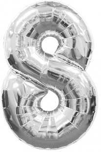 "40"" Silver Number 8 Foil Balloon"