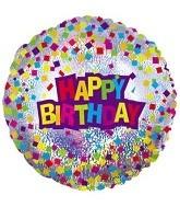 "9"" Airfill Happy Birthday Confetti Foil Balloon"