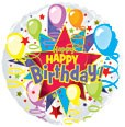 """9"""" Airfill Happy Birthday Starburst"""