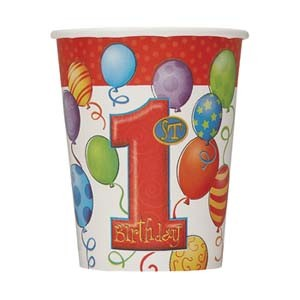 1st Birthday Balloons 9 oz. Paper Cups