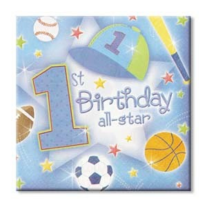 1st Birthday All Star Beverage Napkins