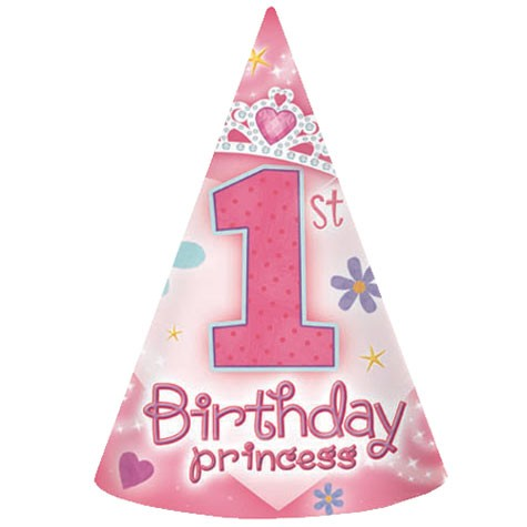 Princess 1st Birthday Party Hats 8pcs per pack