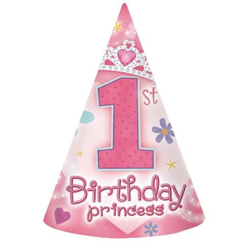 Princess 1st Birthday Party Hats 8pcs Per Pack