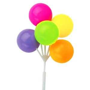 Neon Colour Balloon Cluster Picks - Cake Toppers - Cake ...