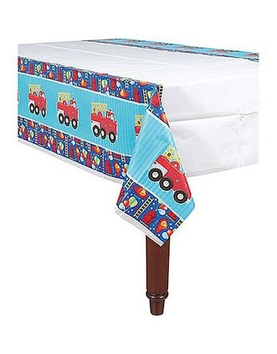Fire Engine Fun 54in x 102in Plastic Table Cover