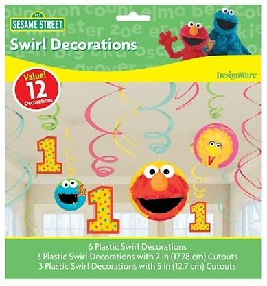 Sesame Street 1st Birthday Swirl Decorations