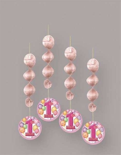 First Birthday Pink Balloons Hanging Decoration