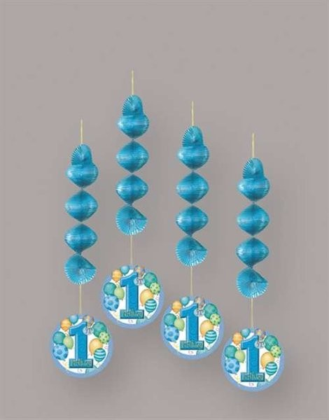 First Birthday Blue Balloons Hanging Decoration