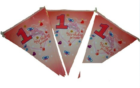 1st Birthday Princess Paper Flag Banner