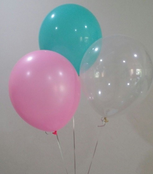 "12"" Aqua, Pink & Transparent Colour Latex Balloons"