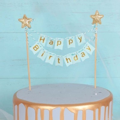 Gold star Happy Birthday Blue Cake Banner