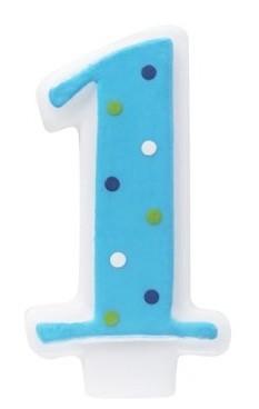 Number 1 Blue Polka Dot Candle