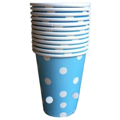 Polka Dot Blue Paper Cups 10pcs