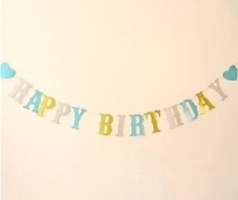 EVA Blue Glittering Happy Birthday Banner