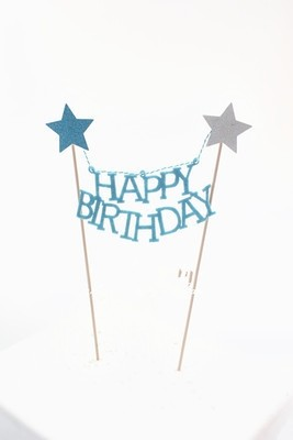 Blue star Happy Birthday Cake Banner