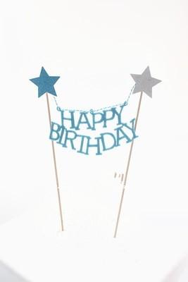 Blue star Happy Birthday Cake Banner