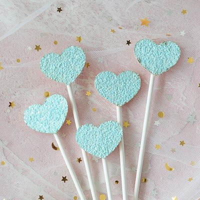 Blue Heart Shimmering Cake Picks