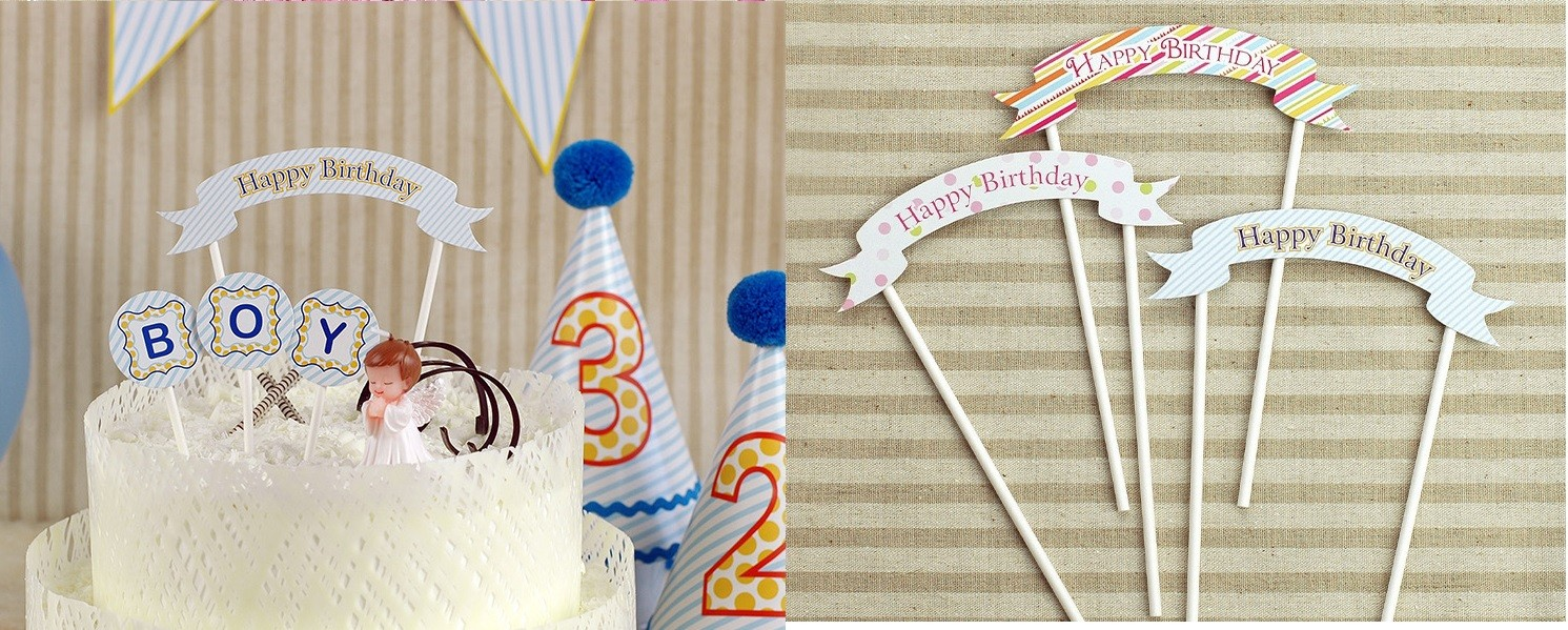 Blue Striped Happy Birthday Small Pick Banner for Cake