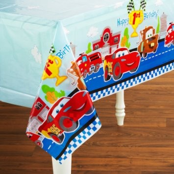 Disney Cars First Birthday Party Plastic Table Cover
