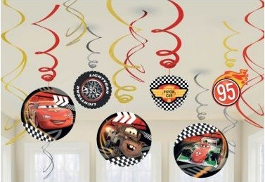 Disney Cars Foil Swirl Hanging Decorations 12pcs