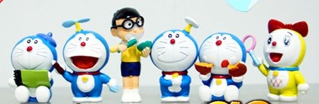 Doraemon 6 pcs Figure Topper