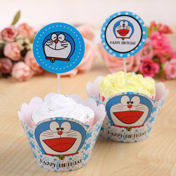 Doreamon cupcake skirting and cupcake pics Set 12pcs