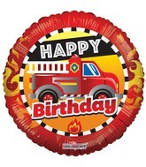 "18"" Happy Birthday Fire Engine Foil Balloon"