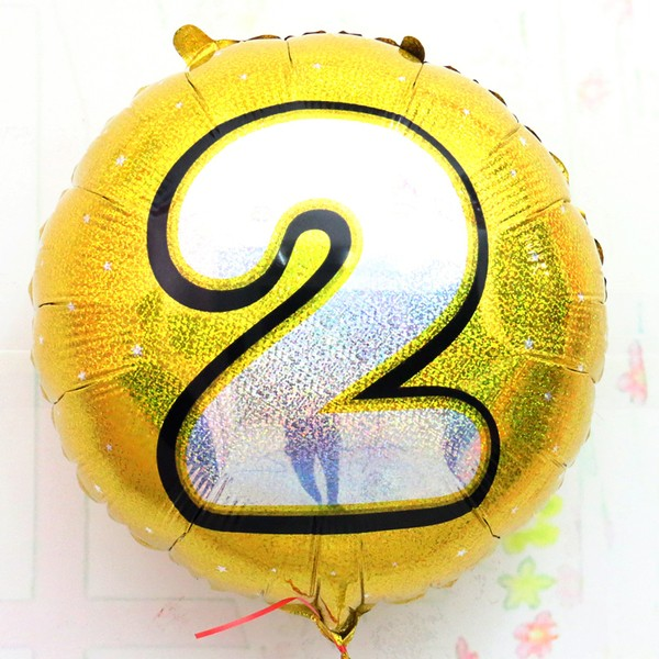 "18"" Gold Shinny #2 Foil Balloon"
