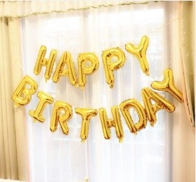 "16"" HAPPY BIRTHDAY glossy gold Foil Balloons"