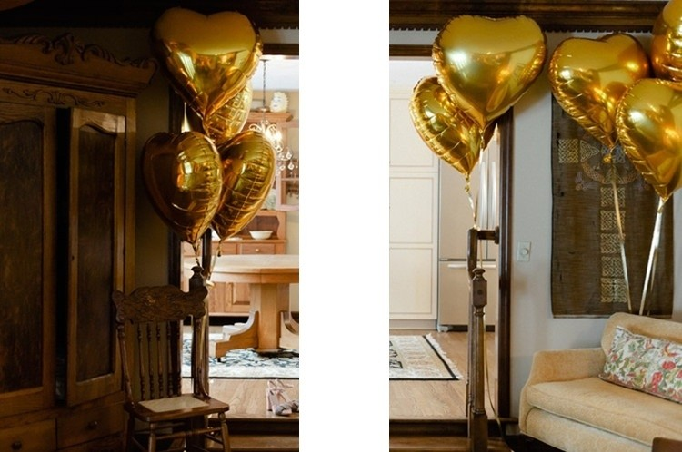 "32"" Gold Heart Balloon"