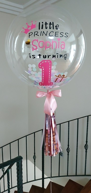 24in Personalised Clear Bubble Balloon - Confetti filled