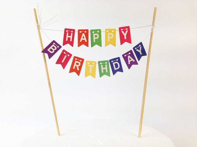 Colourful Happy Birthday Cake Banner
