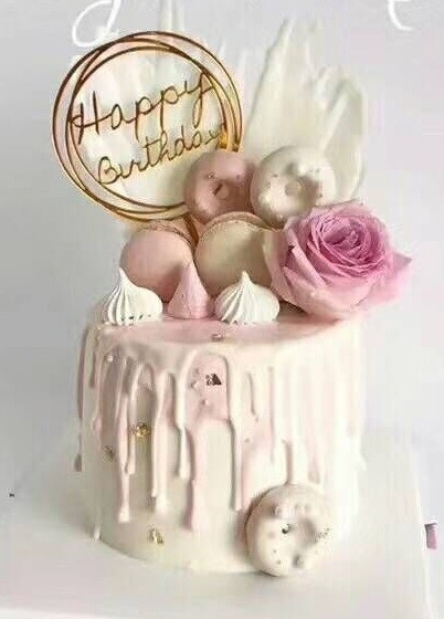 Happy Birthday Gold Round Cake Decoration