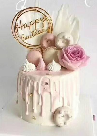 Happy Birthday Gold Round Cake Decoration