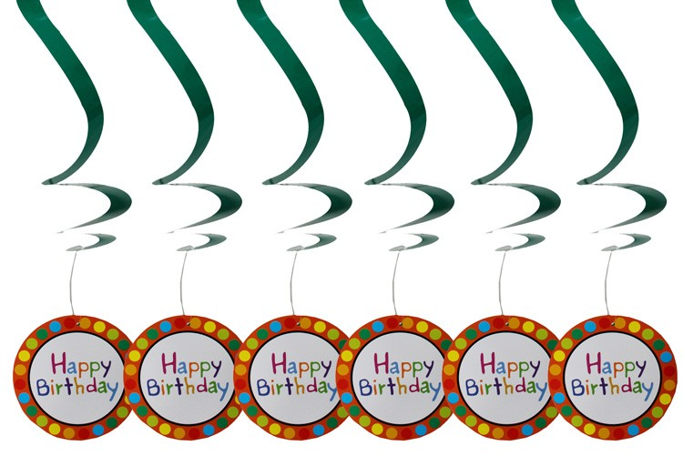 Happy Birthday Swirl Decorations 6pcs
