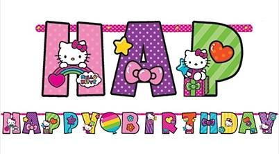 Rainbow Hello Kitty Birthday Banner 10ft