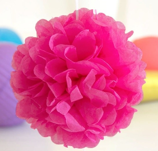 Hot Pink Fluffy Ball Decorations