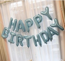 "16"" HAPPY BIRTHDAY Pearl Light Blue foil balloons"