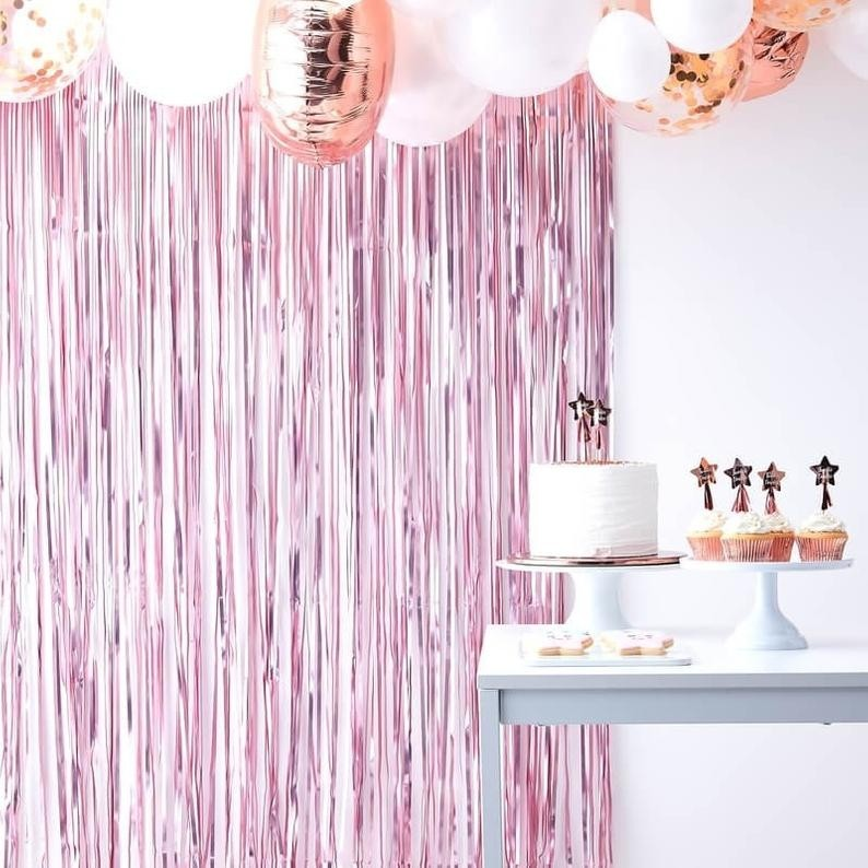 Pink Streamer Foil Curtains