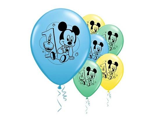 "12"" Mickey Mouse 1st Birthday Latex Balloons"