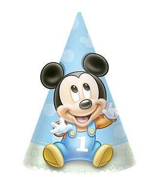 Mickey Mouse 1st Birthday Party Hats 8pcs