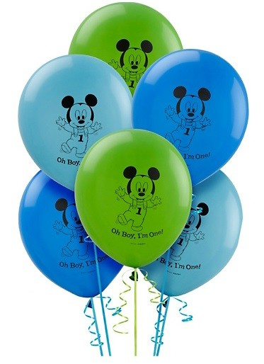 12in Mickey Mouse 1st Birthday Latex Balloons