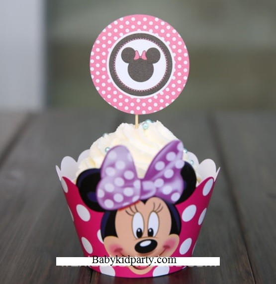 Minnie Cupcake skirting and cupcake pics Set 12pcs